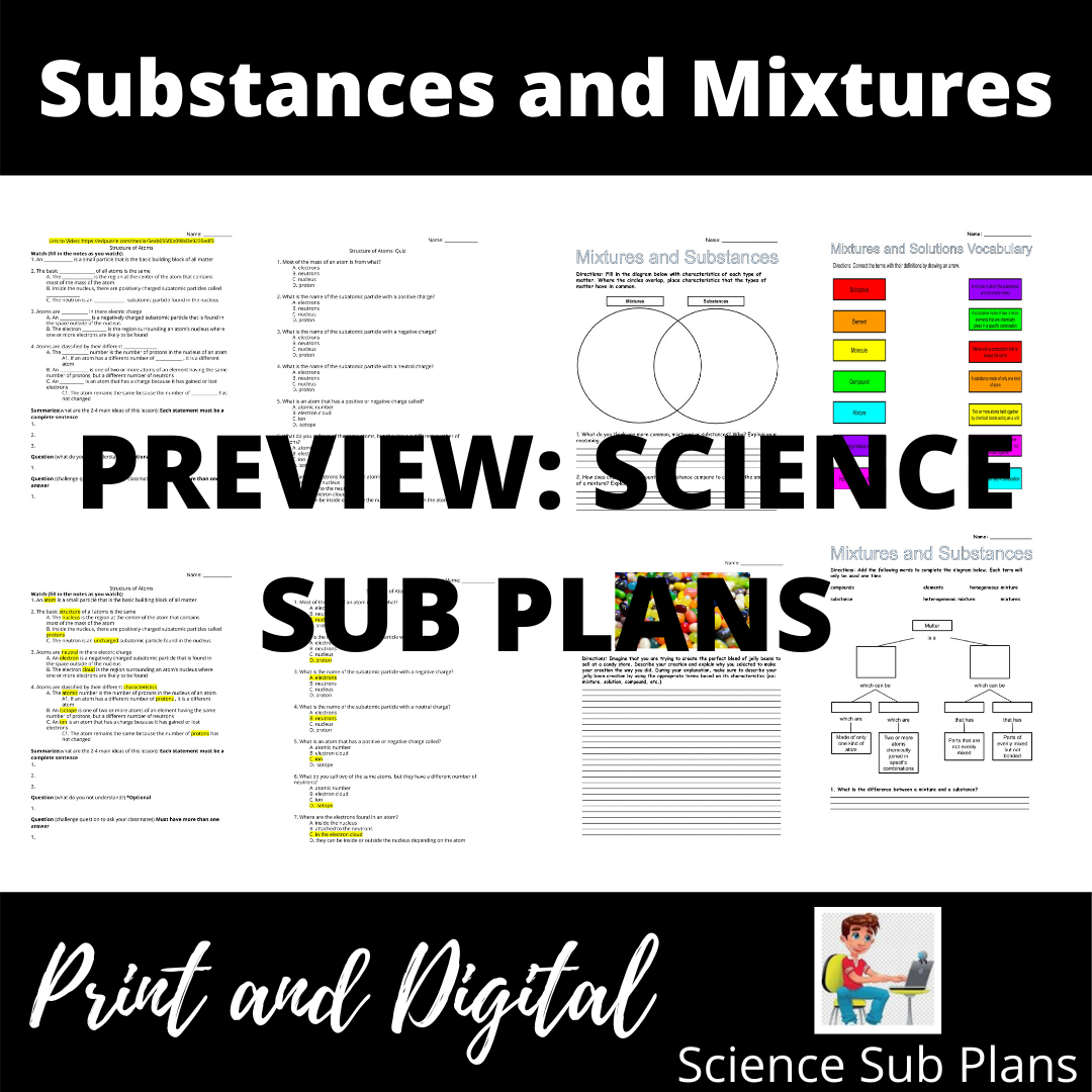 Substances And Mixtures Interactive Video And Activities