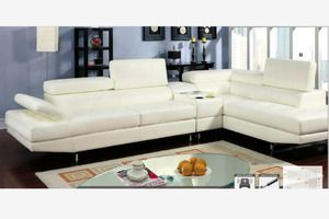 Modern White Leather Sectional Sofa Couch Console Bluetooth Speaker Sectional Sofa Couch Sectional Furniture