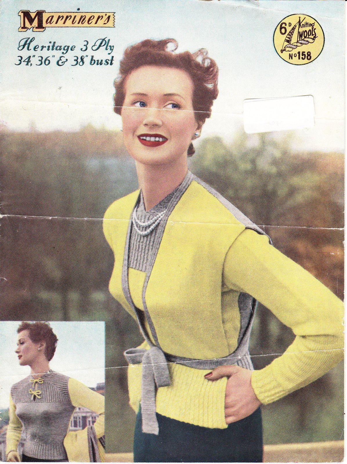 Vintage 1950\'s knitting pattern twin set tie-belt waistcoat ...