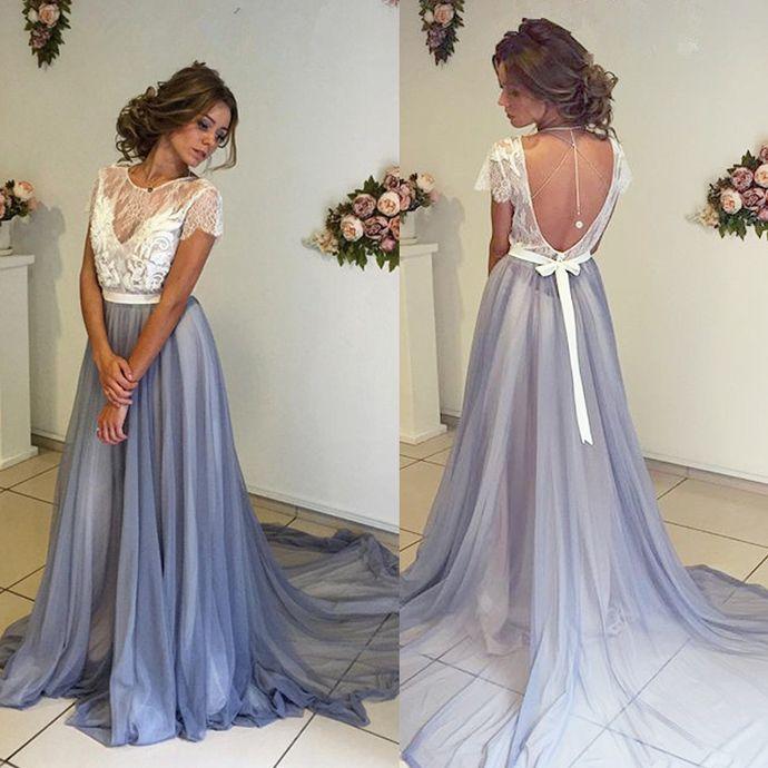 Charming Prom Dress,Chiffon Prom Dress,Short Sleeves Prom Dress,Backless Evening Dress by DRESS, $169.00 USD