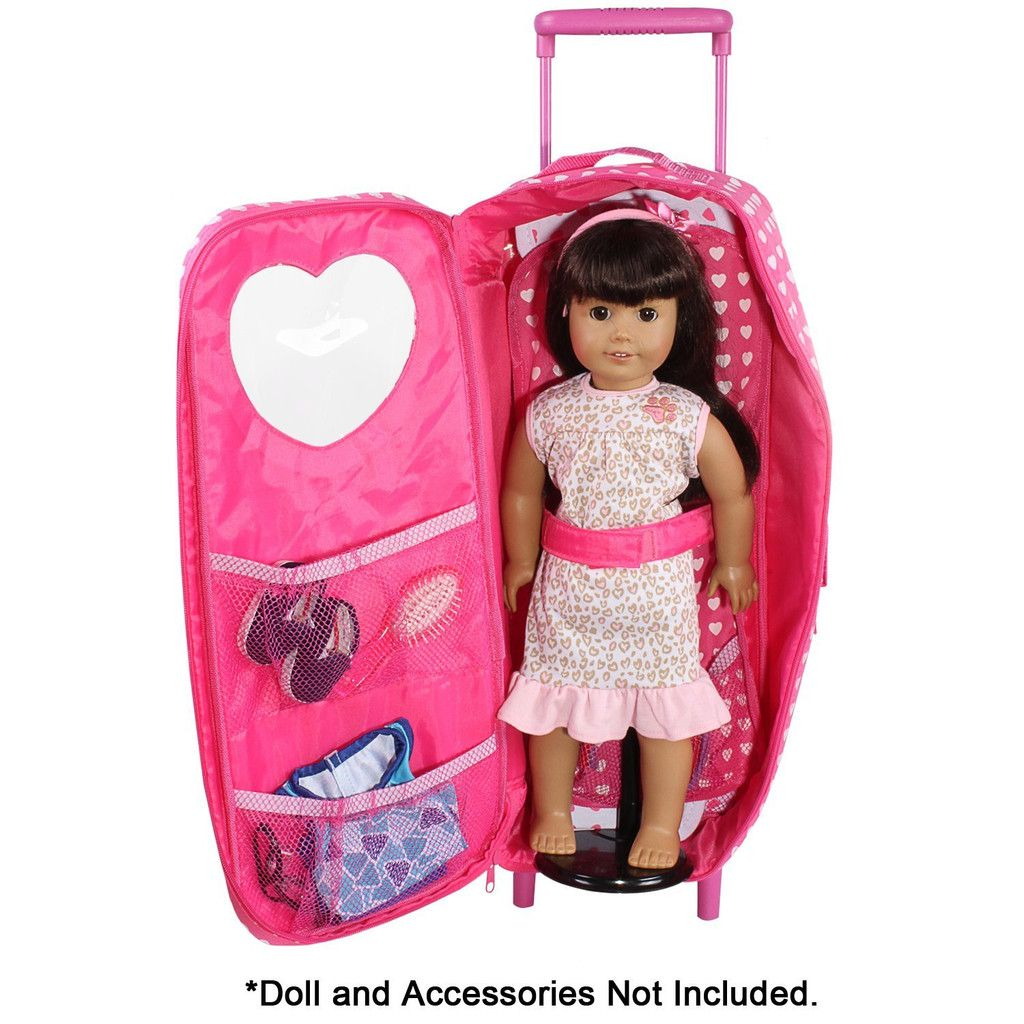 Doll Travel Carrier Trolley With Foldable Bed And