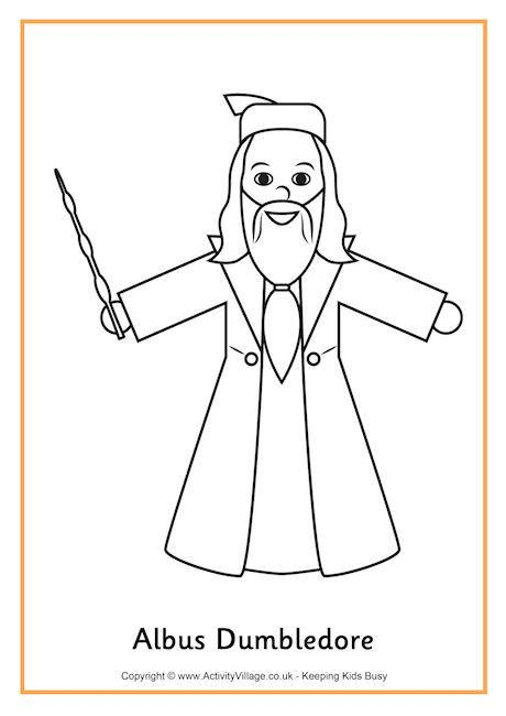 Albus Dumbledore Colouring Page Harry Potter Coloring Pages