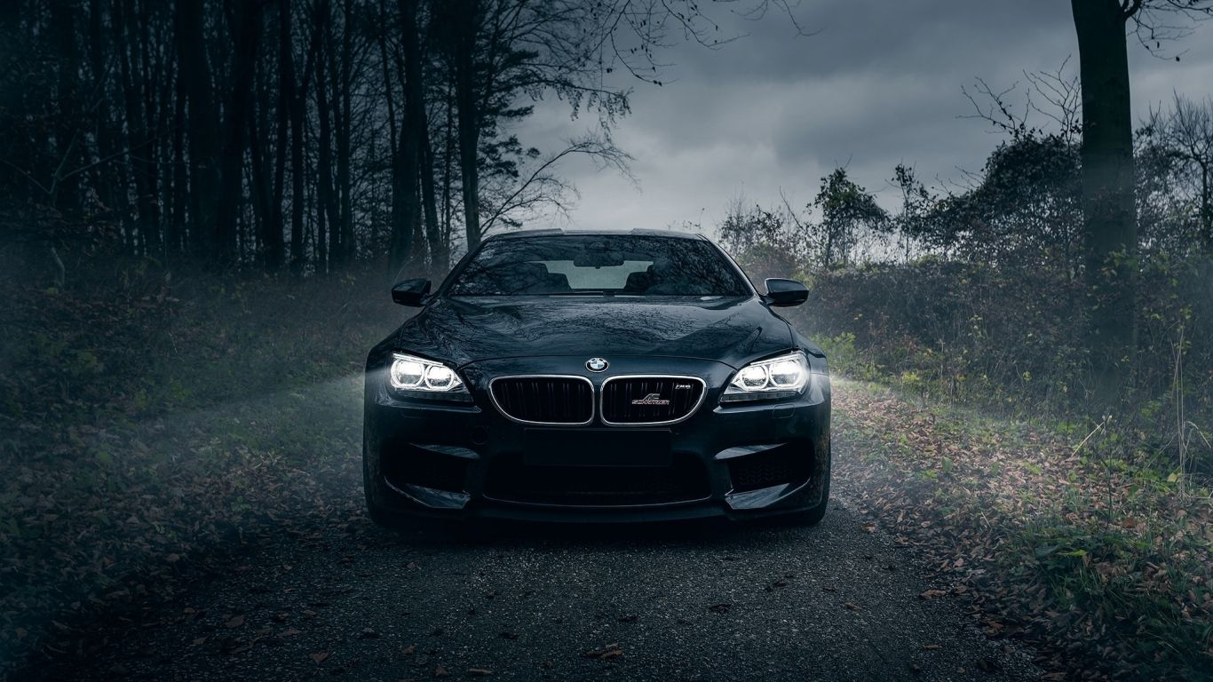 1366x768 Wallpaper Bmw M6 Dark Knight Black Forest Fog Front
