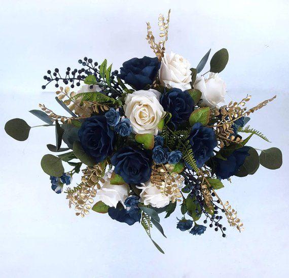 Navy and Ivory Bridal Bouquet, Rose Bouquet, Boho Silk Bouquet, Midnight, Gold Wedding, Fall Wedding, Marine, Eucalyptus, Fake