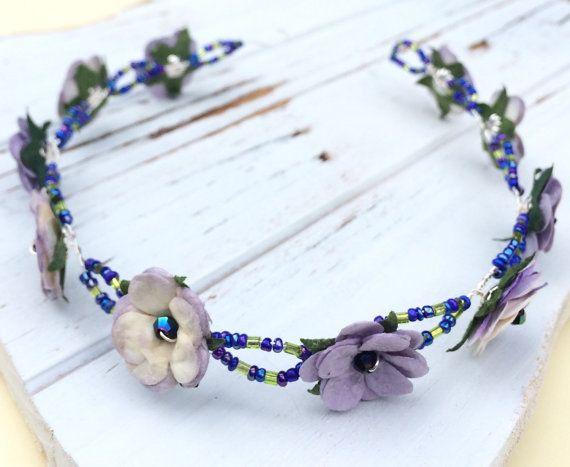 Lavender flower crown boho flower headband womens by CrushedCameo