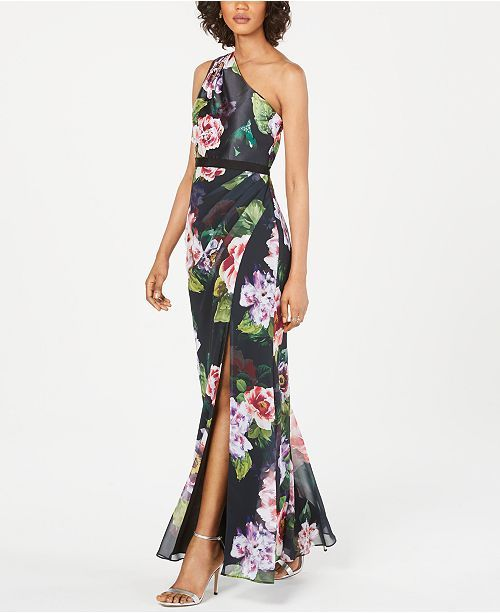 Adrianna Papell Petite Floral-Print One-Shoulder Gown ...