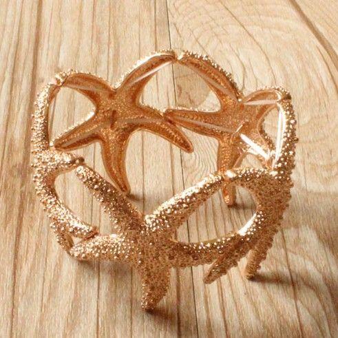 Min ordem $15( pode misturar item) ouro multi estrela grande estrela do mar texturizado pulseira bracelete trecho de praia
