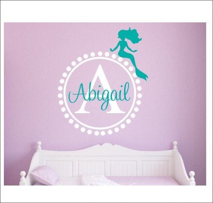 Mermaid Monogram Decal Wall Decal Personalized Wall Decal With - Monogram vinyl wall decals for girls