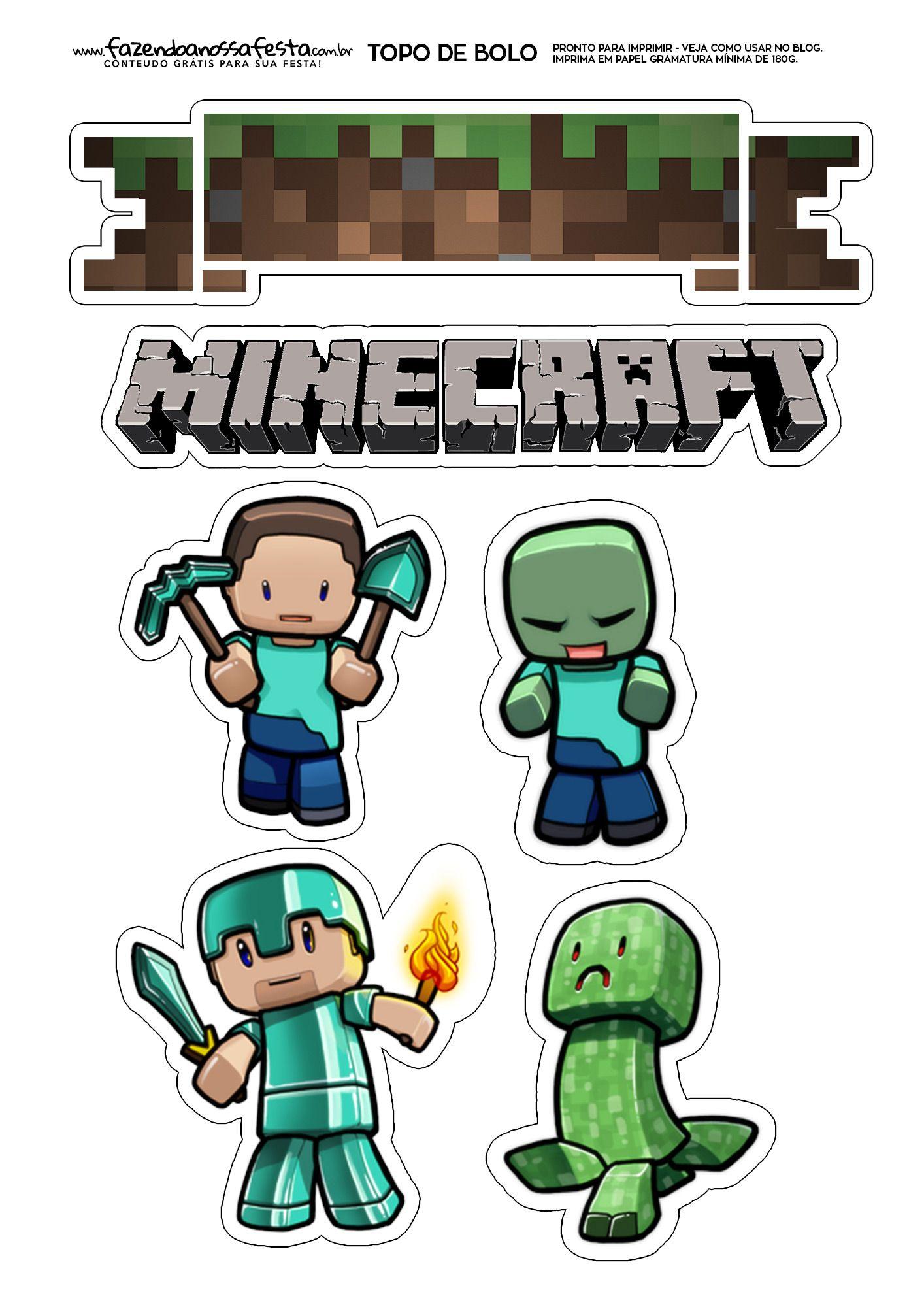 Topo De Bolo Minecraft Minecraft Party Pinterest