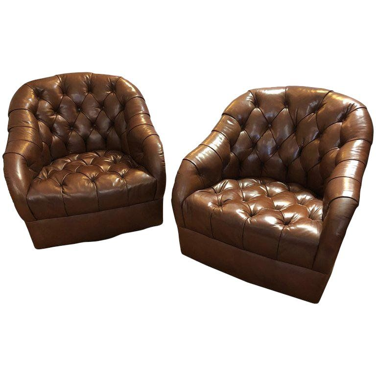 7bdfa8b465183 1970s Mid-Century Modern Tufted Leather Swivel Club Chairs - a Pair ...