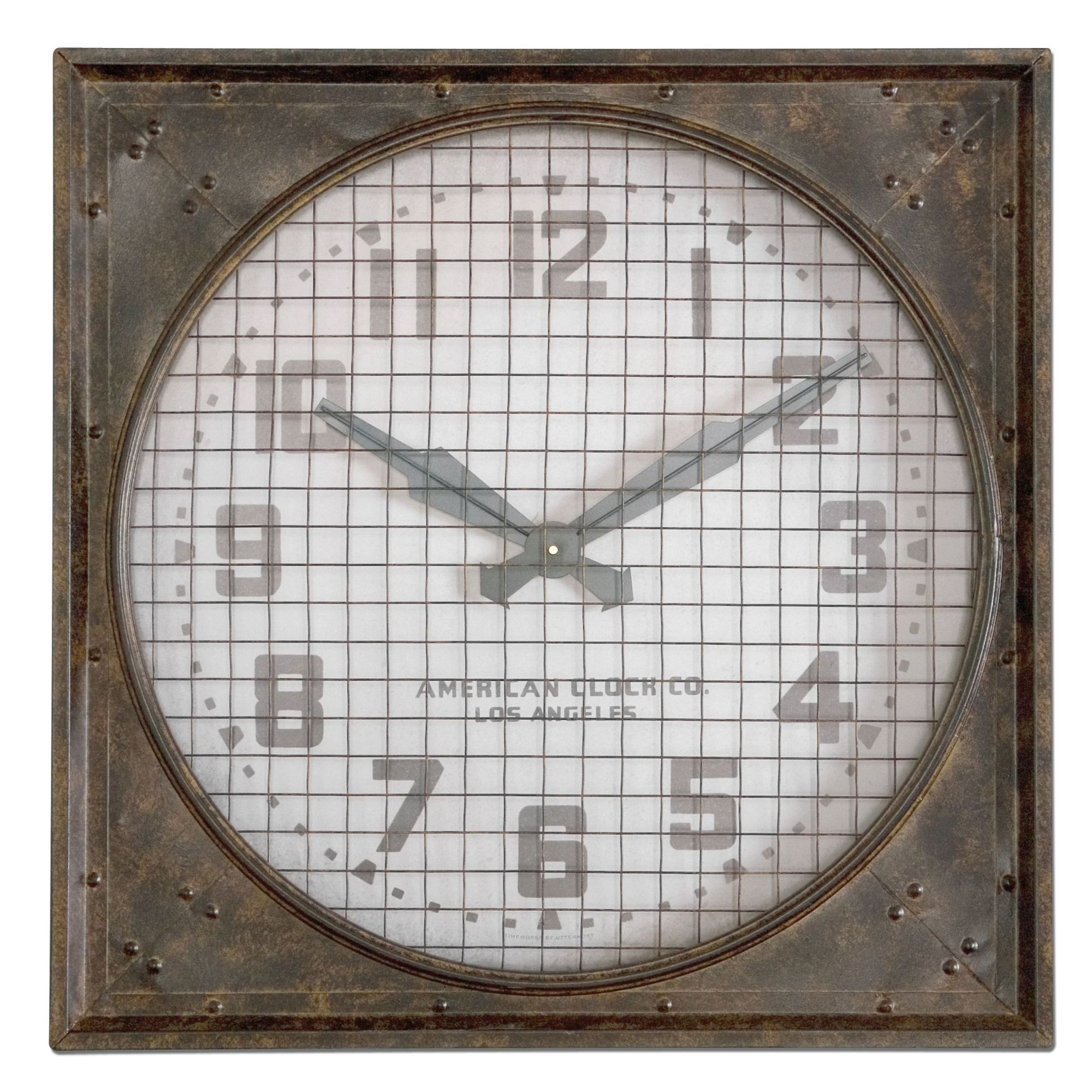 Uttermost uwarehouseu rust brown wall clock with grill warehouse