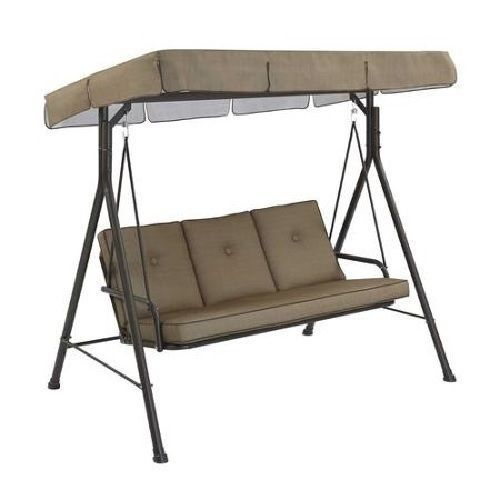 Patio Swing Set With Canopy Large 3 Person Metal Steel Garden Lawn