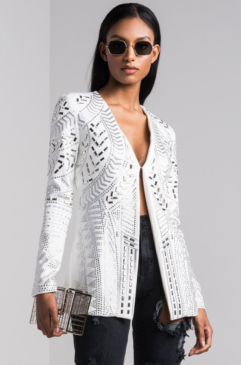 6869d26fc30f7f AKIRA Long Sleeve Open Front Shoulder Pad Rhinestone Embellished Blazer in  Ivory