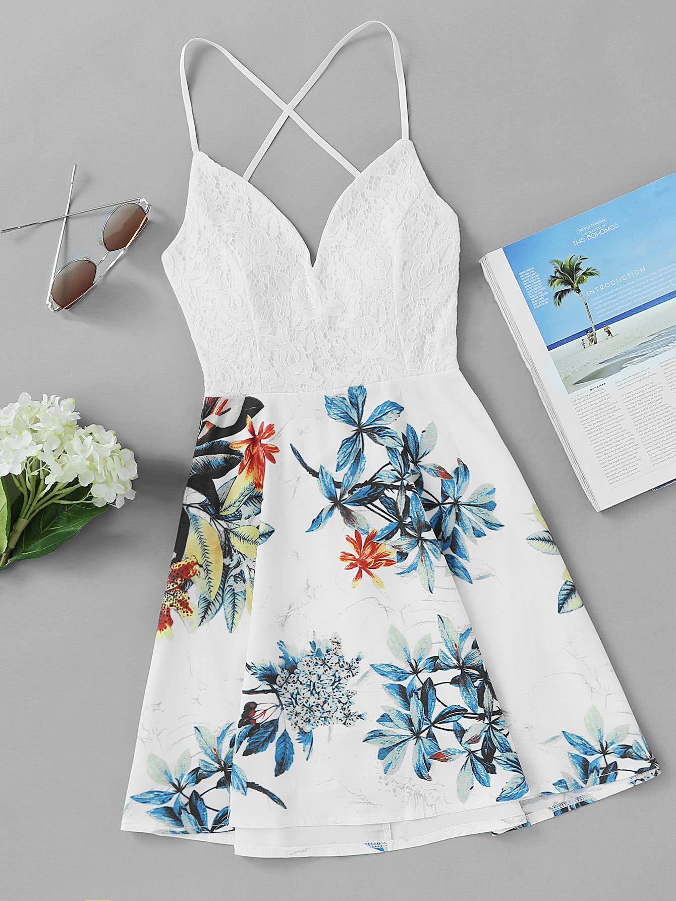 5cf9acf5a78c ... Neck Sleeveless Dress Boho. Criss Cross Back Lace Panel Tropical Print DressFor  Women-romwe