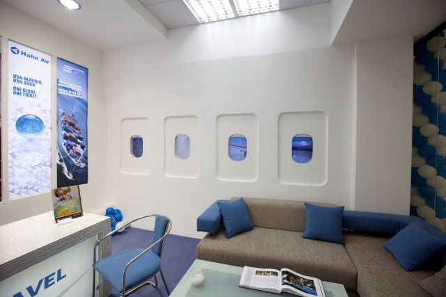 Inspired by an airplane interior this travel agency was for Decor agency