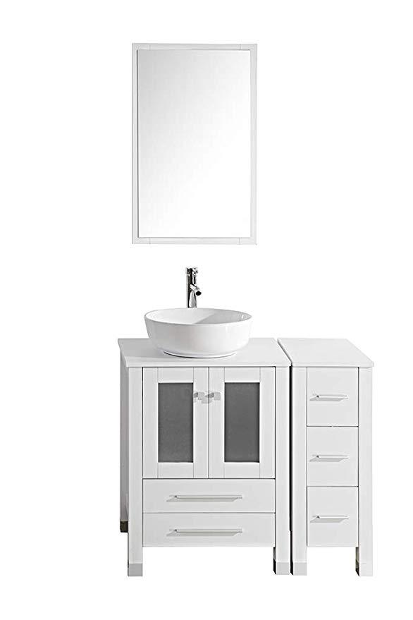 Tonyrena Modern 36 Bathroom Vanity Set Cabinet With Ceramic Sink Top Faucet Flexible Drain Mirrors White 36 Bathroom Vanity Vanity Set Bathroom Vanity