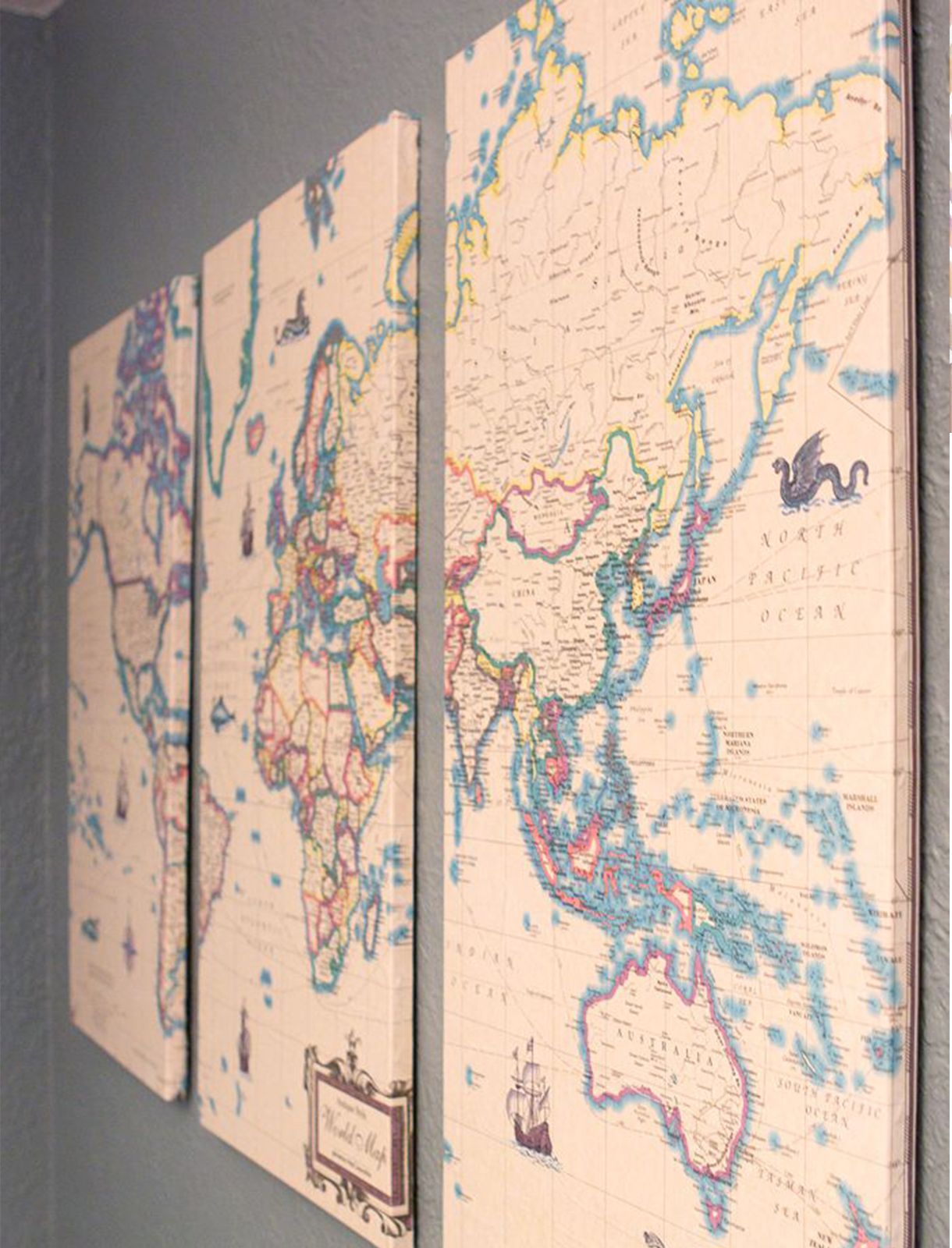 Idea For Living Room Wall Decor Vintage Map Diy Decoupage