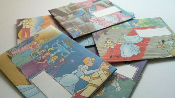 Set of 7 recycled envelopes from Snow White book. Unique envelopes.