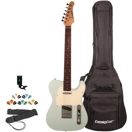 Sawtooth ET Series Electric Guitar Kit with ChromaCast Gig Bag & Accessories, Green