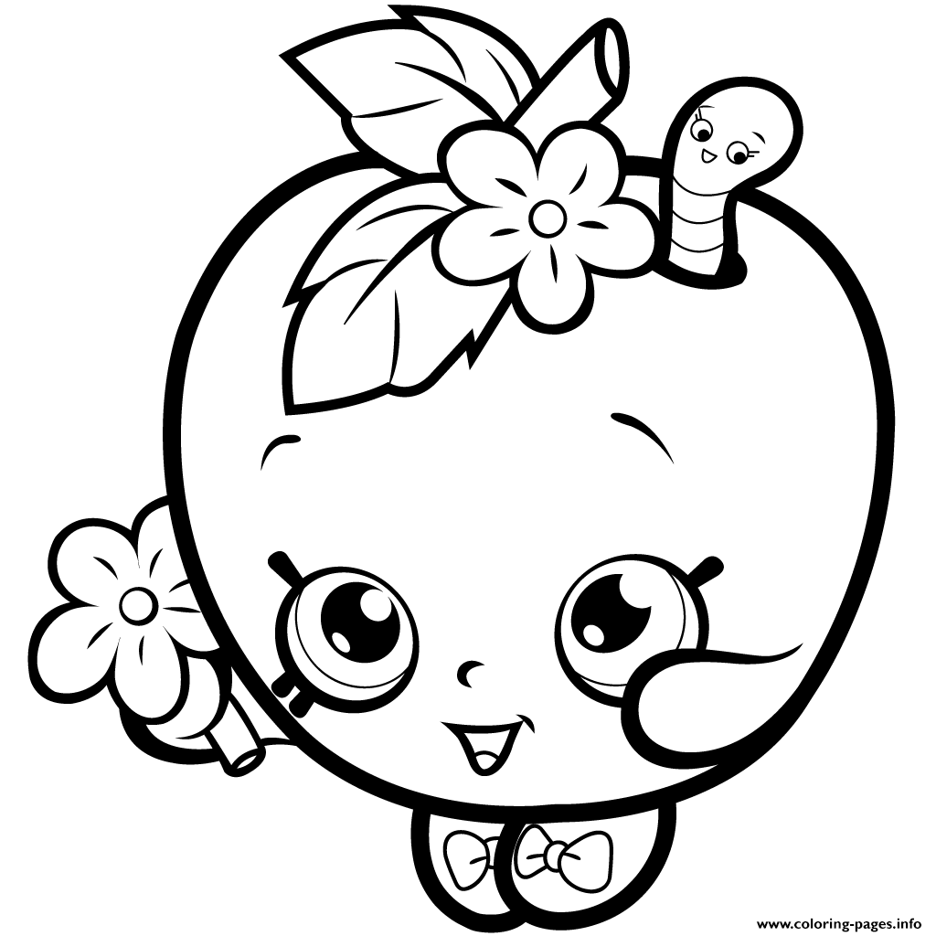 Print Fruit Apple Blossom Shopkins Season 1 Coloring Pages
