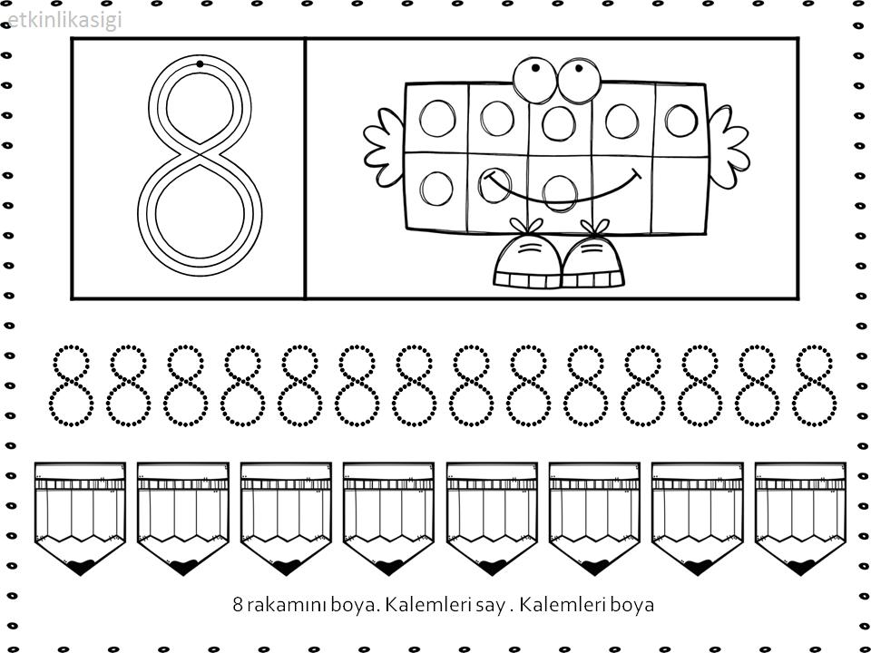 8 Rakami Calisma Sayfas Sinif Fikirleri Okul Oncesi Matematik