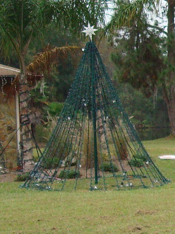 Yard Christmas Tree out of lights! | Outdoor christmas ...