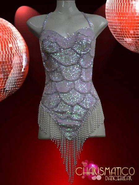 e7e8bf1880 Charismatico Dancewear Store - White BEADED Sexy Show GIRL Sequin Bodysuit  LEOTARD, $115.00 (http