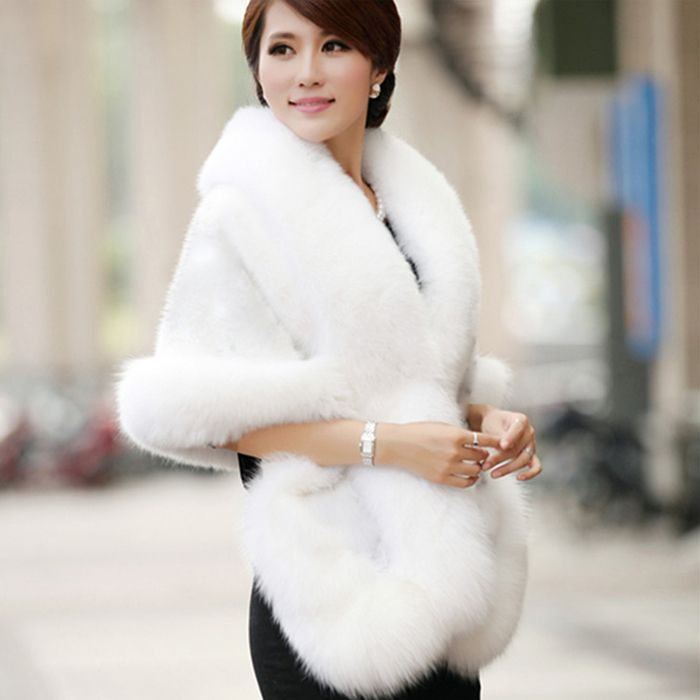 Bridal Faux Fur Coat Autumn And Winter Warm Shawls New Wedding Outerwear White Black Burgundy Free Size