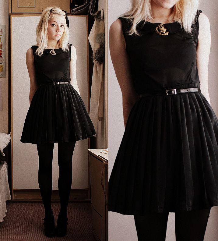 Vestido Negro Y Medias Negras   Ideas Para Vestir