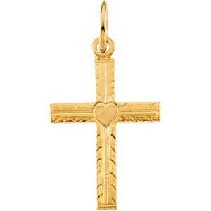 13X10MM Youth Cross with Heart 14k Yellow Gold Pendant