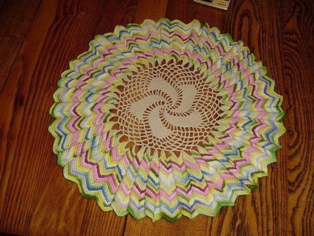 VINTAGE HAND CROCHETED MULTI COLORED DOILIE ~ I love this one.