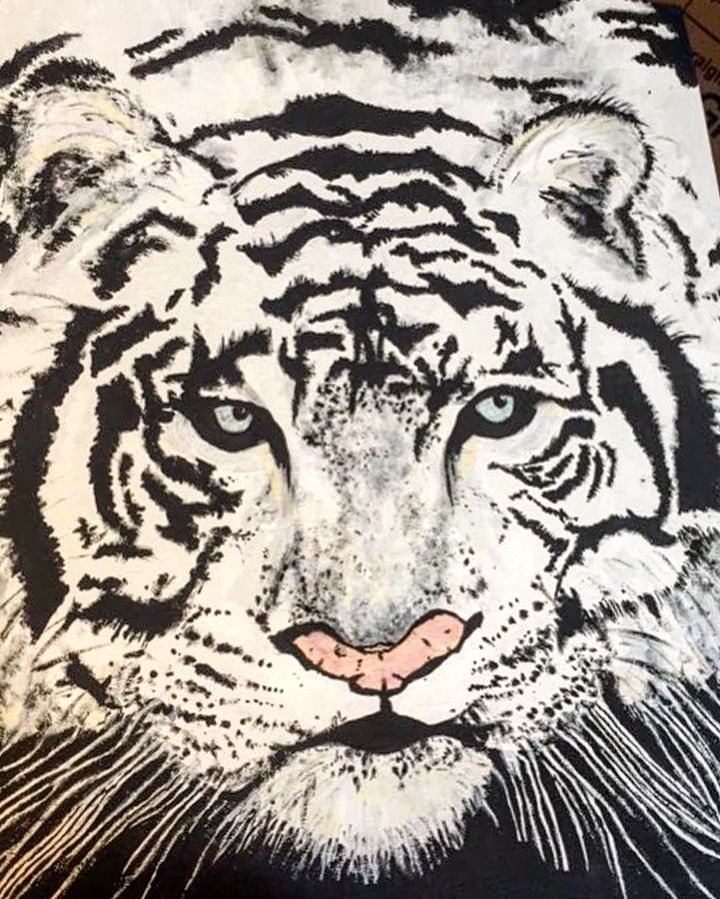 White tiger painting Tristan Harris