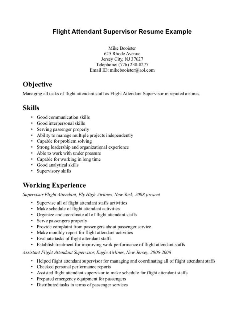 Resume Format Samples Resume Template Also Flight Attendant Emirates Cabin Crew Example