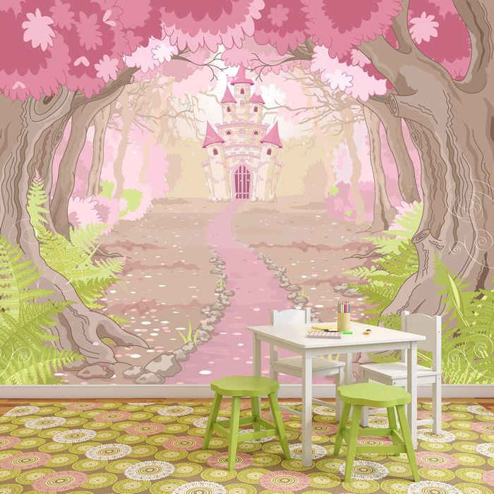 Rosa prinzessin schloss wandbild m rchen foto tapete for Schloss modern einrichten