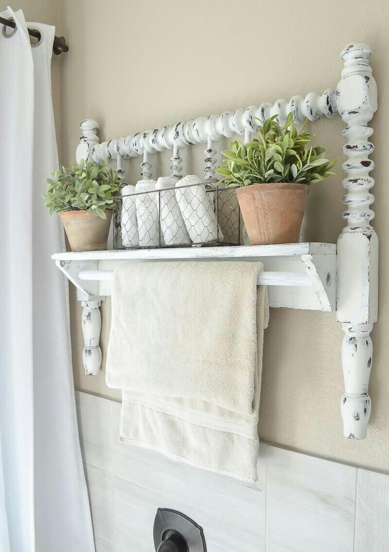 Antique Wall Shelf and Towel Rack