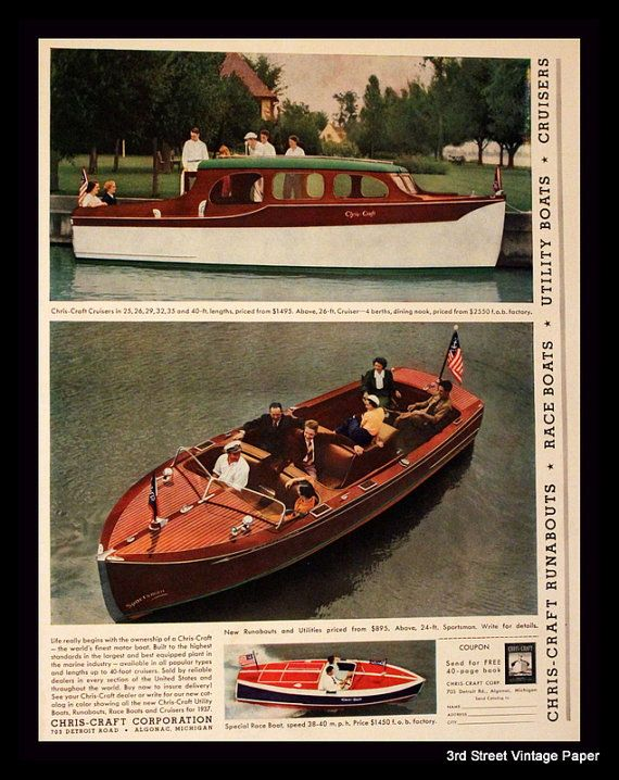 1937 Chris Craft Boat Ad With Cruiser By 3rdstvintagepaper