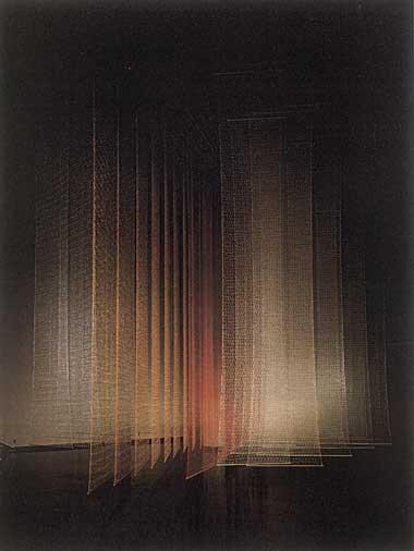 "Luminous Column"". Materials: Nylon Mylar. Techniques: Hand Knitting, Crochet. Location: 'Fabric in Space' - exhibition, Tokyo Metropolitan Art Museum. 1987. © Toshiko Horiuchi Macadam."