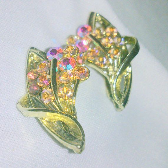 Vintage Aurora Borealis Rhinestone Earrings by BorrowedTimes