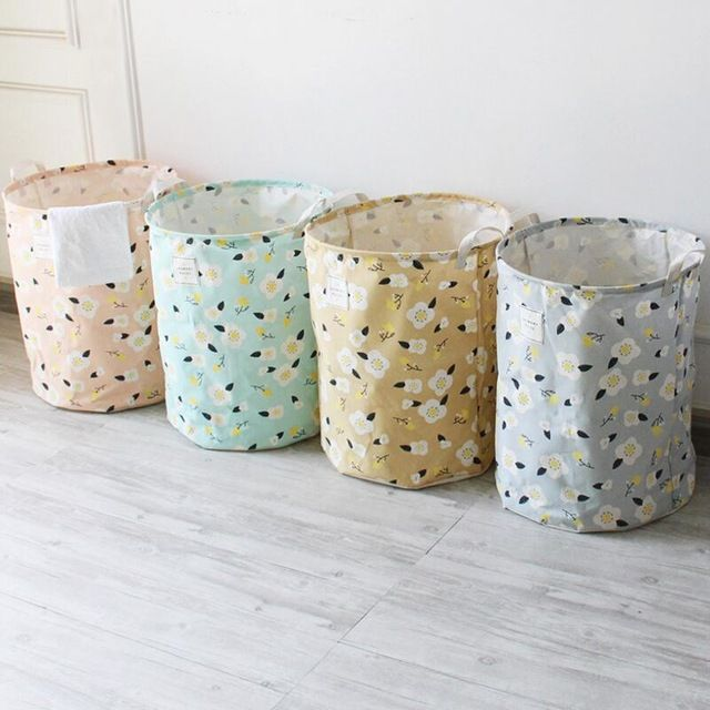 Large Laundry Sorter Interesting New Large Laundry Hamper Bag Cartoon Flowers Leaf Clothes Storage 2018