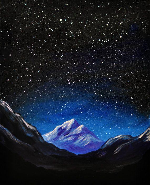 Space Mountain Original Acrylic Landscape Painting By Mikesmithart 80 00 Landscape Paintings Acrylic Landscape Paintings Canvas Art