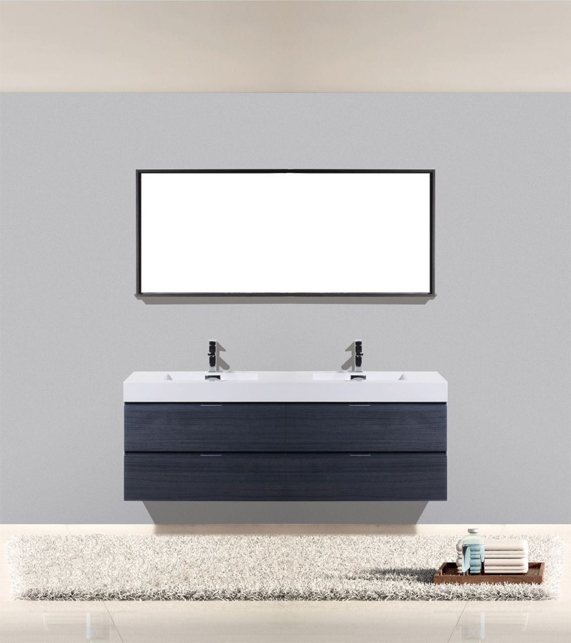 bliss 71 high gloss gray oak wall mount double sink modern bathroom vanity los