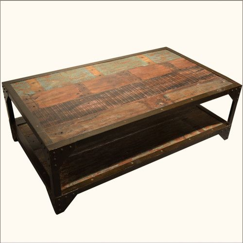 Wrought Iron Old Reclaimed Wood 2 Tier Tail Sofa Coffee Table
