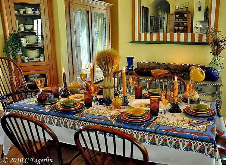 Bon Vintage Table Linens .. Thanksgiving Tablescape .. The Little Round Table