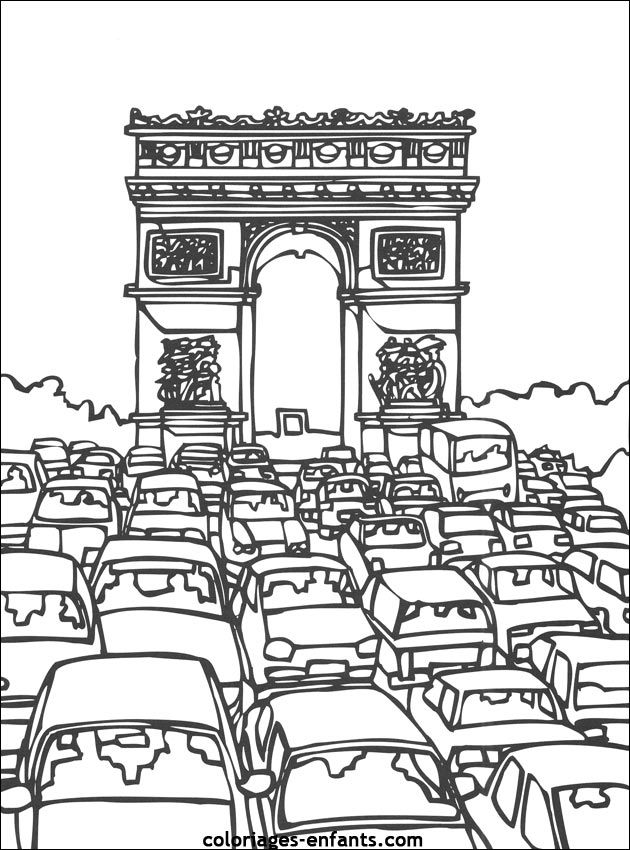 Coloriage De L Arc De Triomphe Coloriage Paris Coloriage Tour