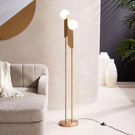 Bower Floor Lamp, Antique Brass, Frosted Glass At West Elm   Floor Lamps    Home Lighting   Home Furniture