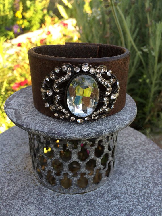 Leather Cuff Bracelet with Large Vintage by TheRustyOwls on Etsy, $48.00