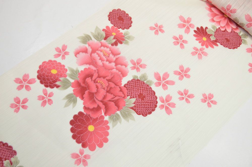 UN-USED COTTON YUKATA BOLT:Chrysanthemum/Cherry Blossom@p59