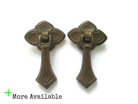 2 Vintage Drop Pulls Single Drawer S Or Door Handles Br Furniture Hardware More Available