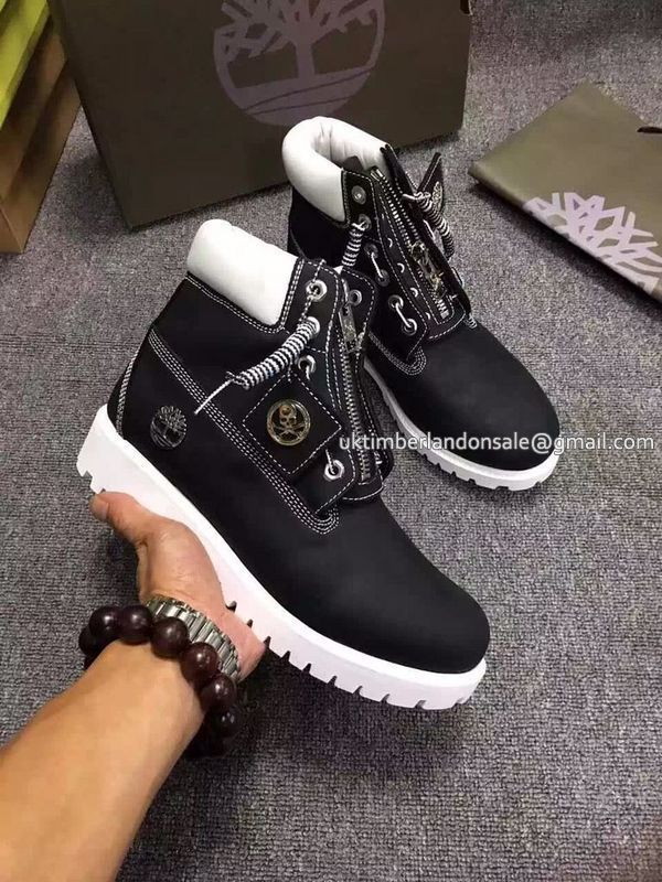 New Timberland Boots For Women 6 Inch Zipper - Black and White $72.00