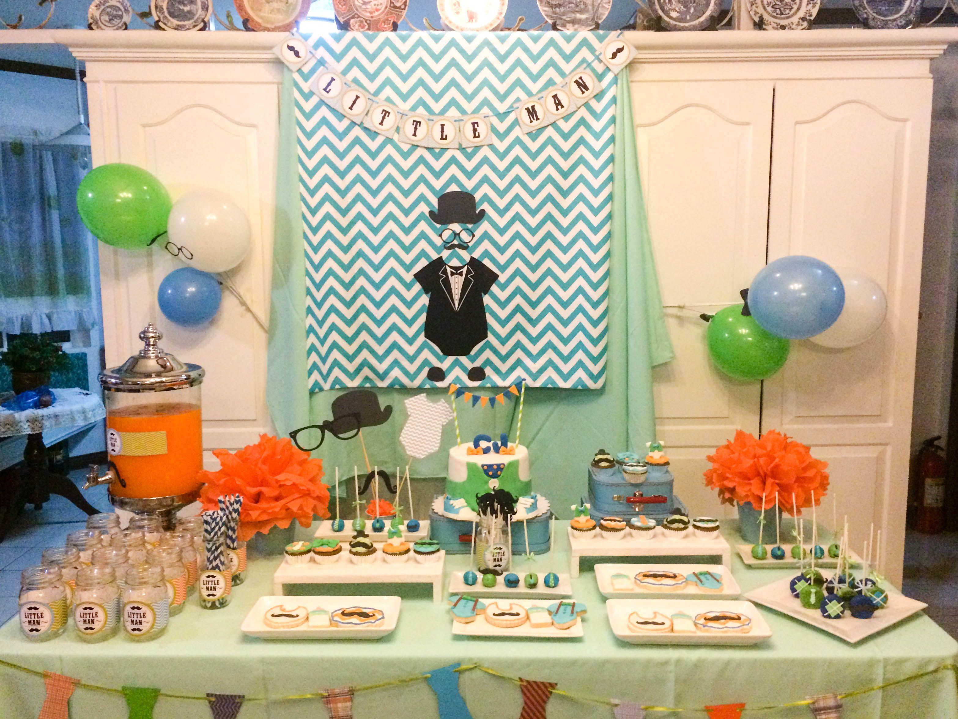 Little Man dessert table for a boy baby shower